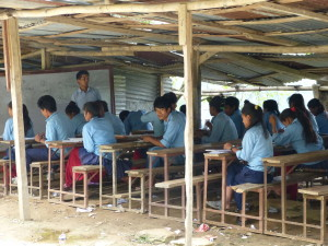Temporary outdoor classrooms in Darkha